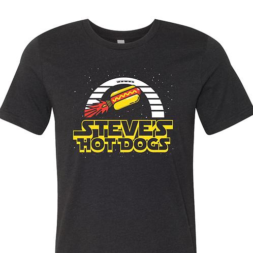 Steve's Hot Dogs Space Tee in Vintage Black