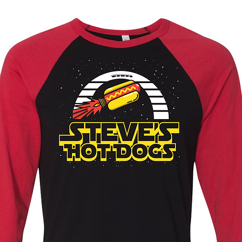 Steve's Hot Dogs Space Tee 3/4 Length - Red or Grey