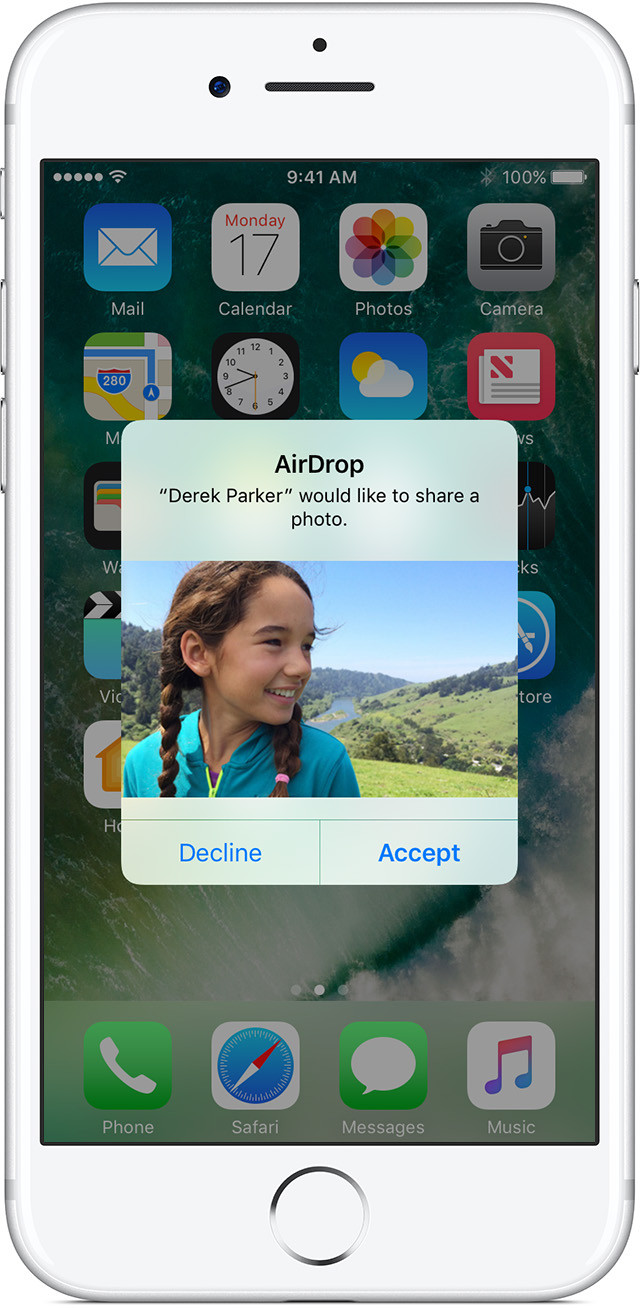 AirDrop Prompt Menu Source : Apple Inc