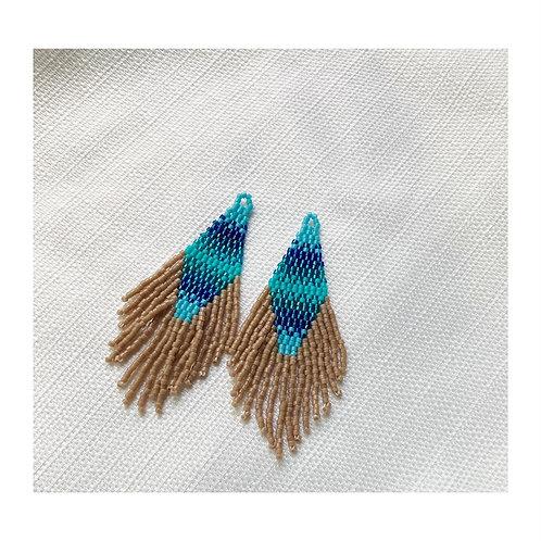 Nova Earring | Aqua + Khaki