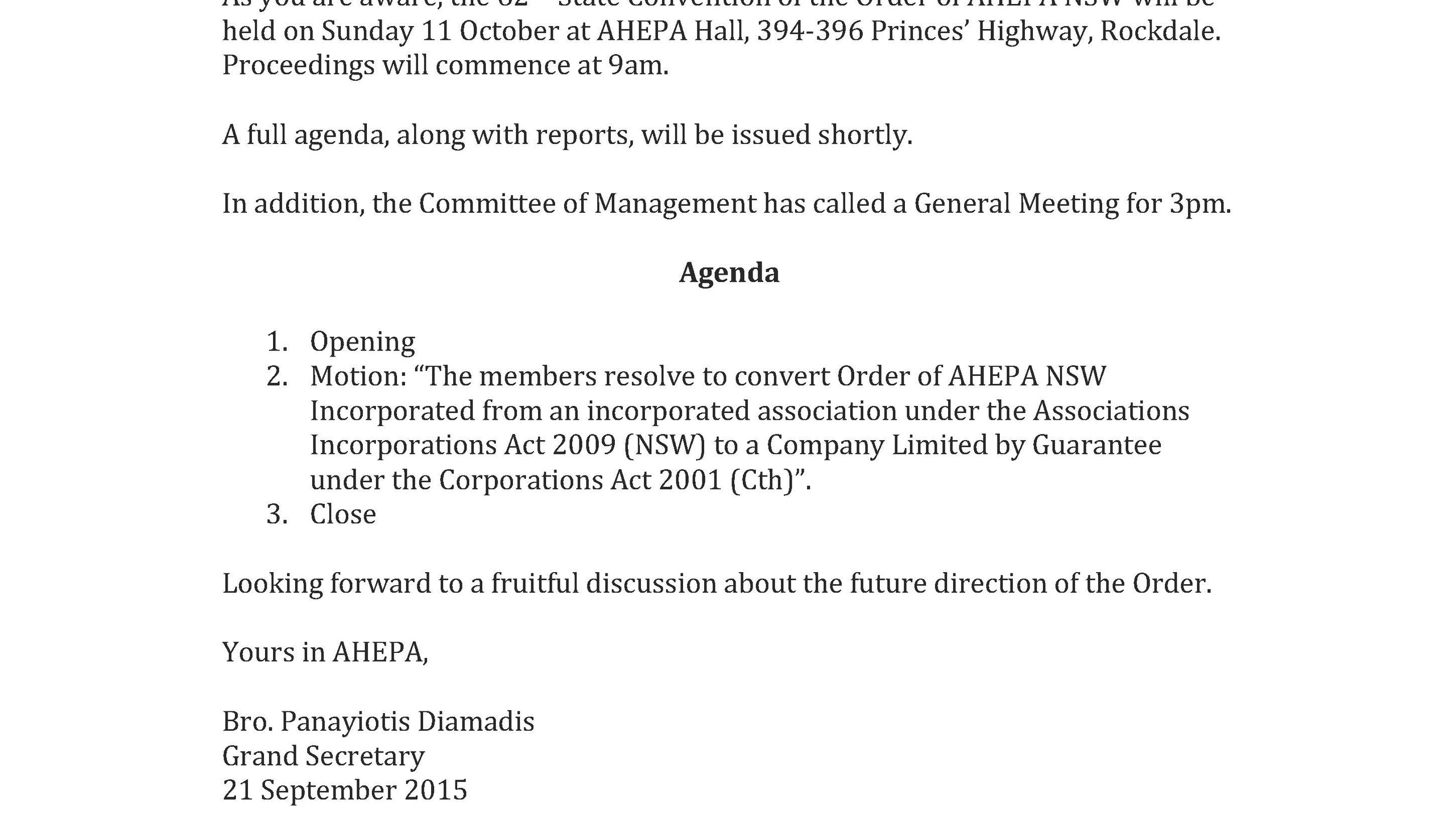Notice of General Meeting Sunday 11