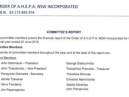 Financial report of the Order of A.H.E.P.A. NSW Incorporated for the financial year ended 30 June 20