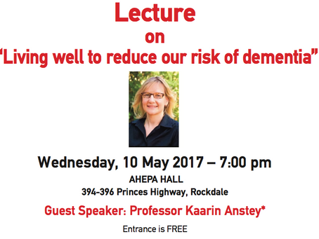 """Chapter Chiron - Lecture on """"Living well to reduce our risk of dementia"""" (10/05/17)"""