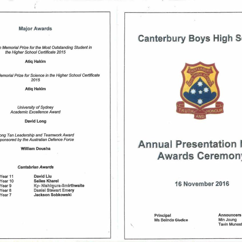 AHEPA NSW INC CBHS Presentation Night 16.11.2016 obverse