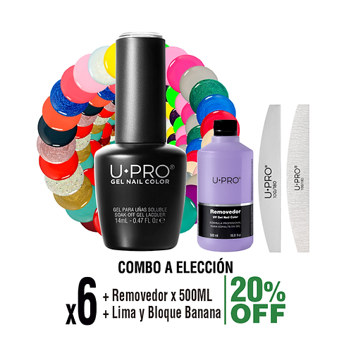 6 Gel Color + Removedor X500ml + Lima y Bloque Banana