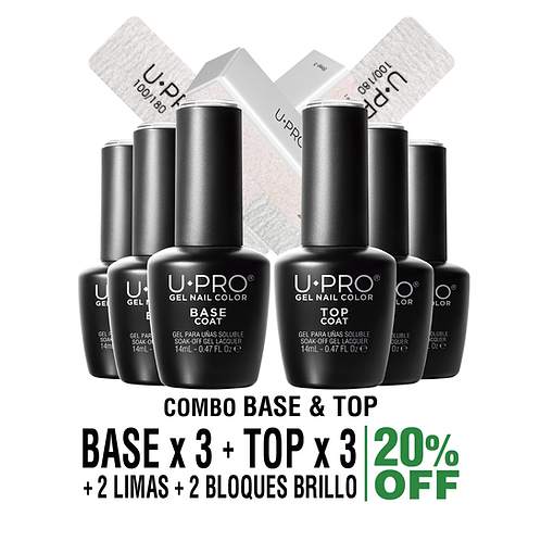 Base Coat + Top Coat U·PRO X3 | Lima y Bloque Brillo X2