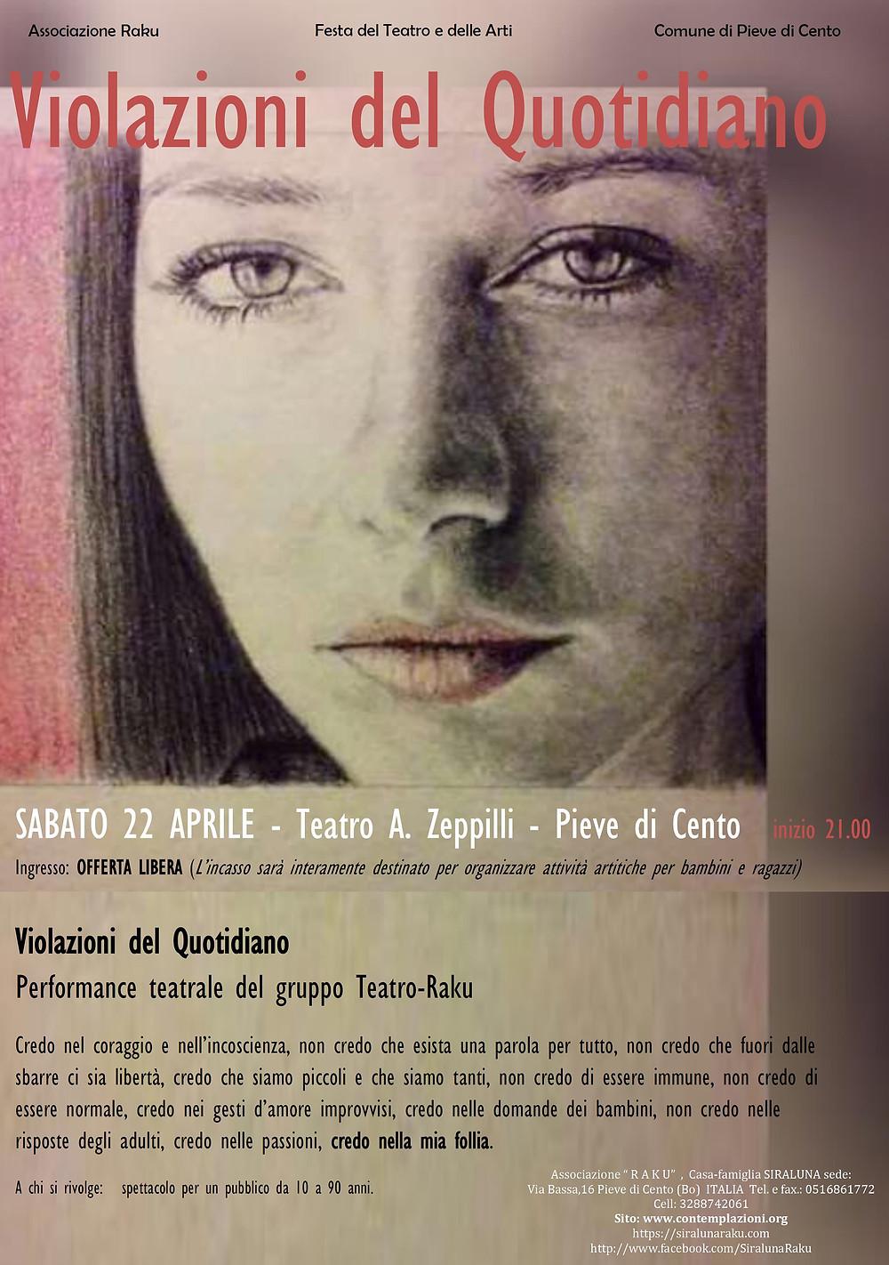 Cartellone dello spettacolo Violazioni del Quotidiano - Sabato 22 Aprile 2017 Teatro Zeppilli Pieve di Cento