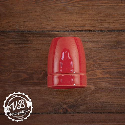 Ceramic Porcelain Lamp Holder - Red