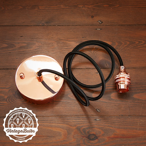 Metal pendant lamp DIY kit  - Copper B22 01 Black