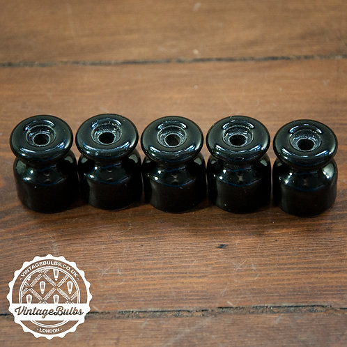 Ceramic cable insulators in Black