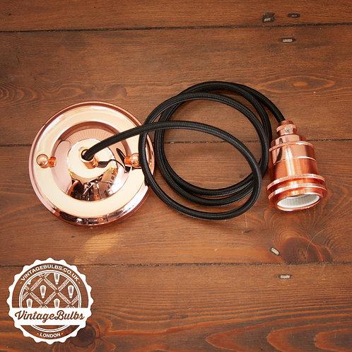 Metal pendant lamp DIY kit  - Copper E27 02 Black