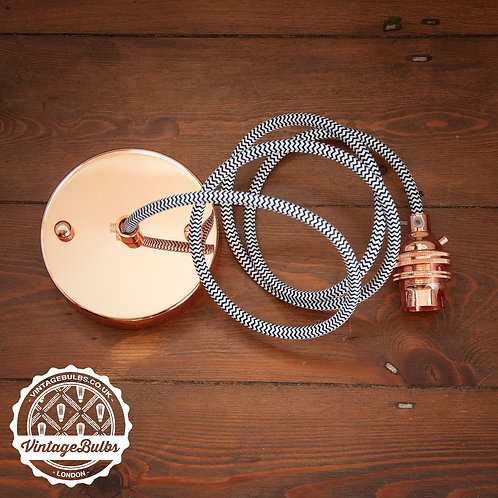 Metal pendant lamp DIY kit  - Copper B22 01 Black & White