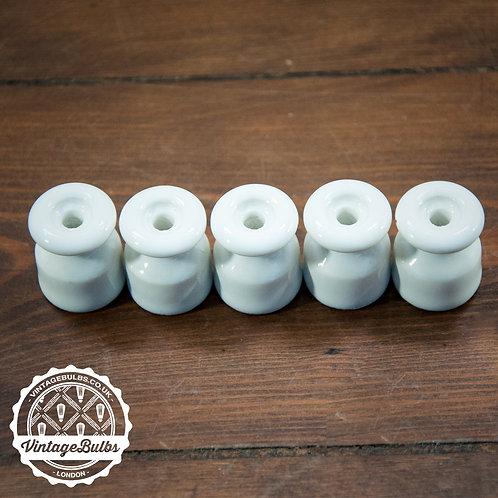 Ceramic cable insulators in White