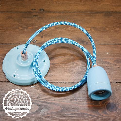 Ceramic pendant lamp DIY kit - Baby Blue