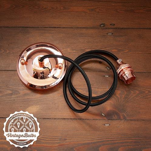 Metal pendant lamp DIY kit  - Copper B22 02 Black