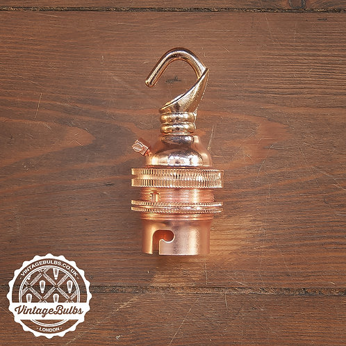 Metal Lamp Holder with Hook (B22) - Copper