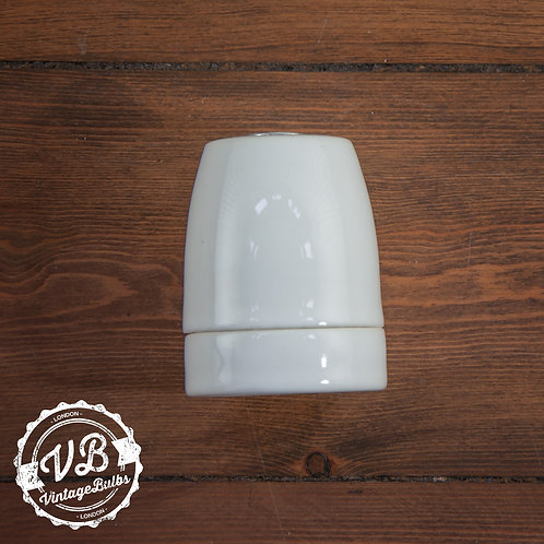 Ceramic Porcelain Lamp Holder - White