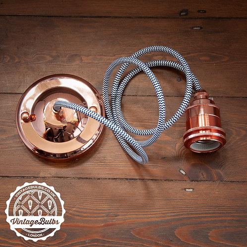 Metal pendant lamp DIY kit  - Copper E27 02 Black & White