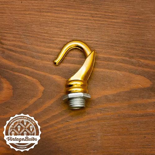 Ceiling Rose Chandelier Hook - Brass