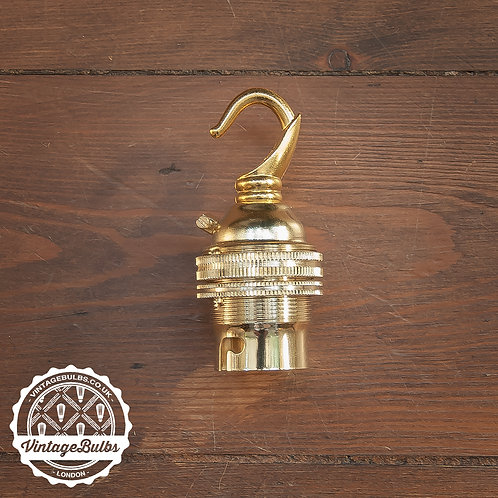 Metal Lamp Holder with Hook (B22) - Brass