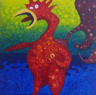 Surf Chicken, oil on canvas, 7.2019, 50X50cm