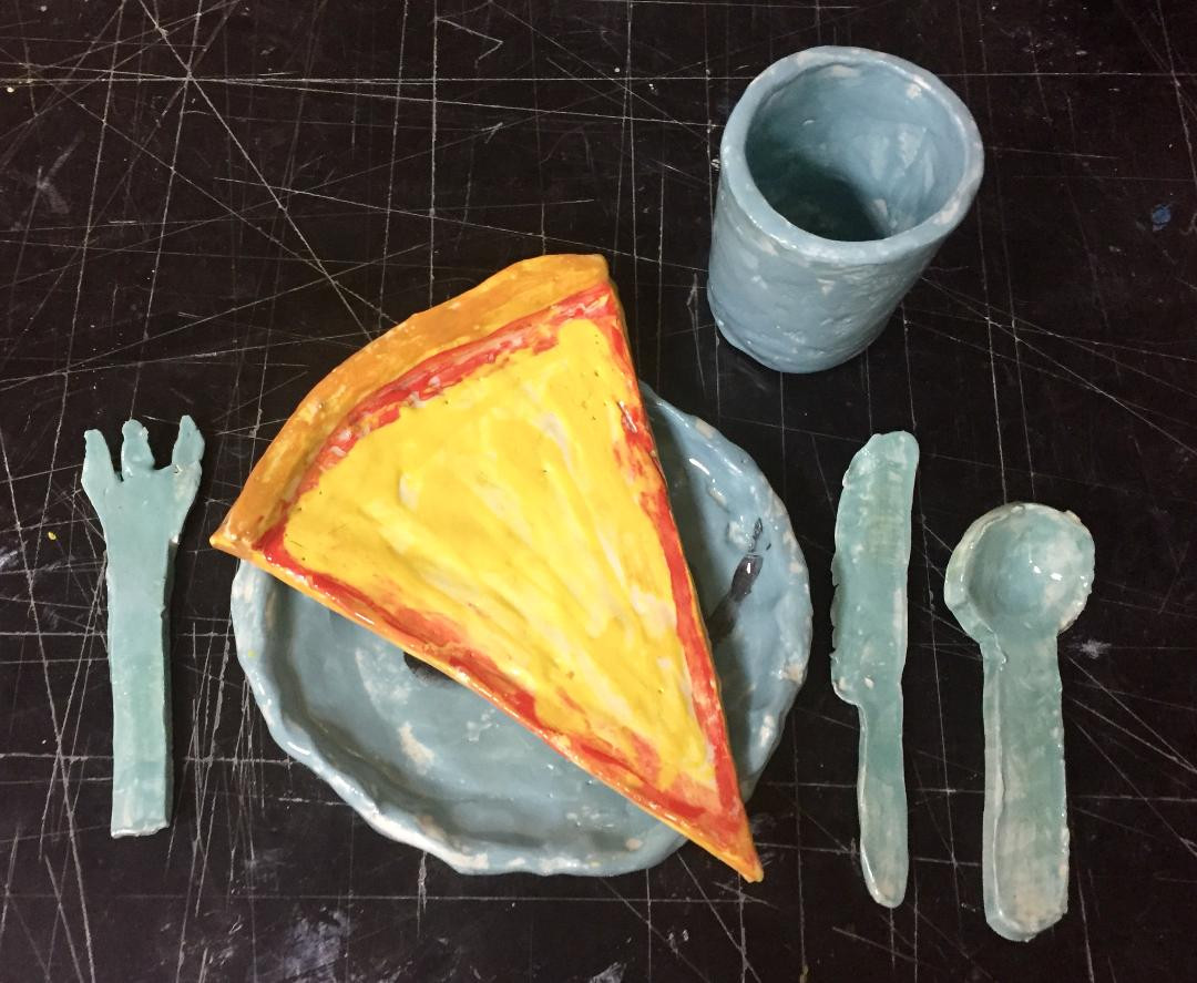 Dinner Set with Pizza Slice In Clay