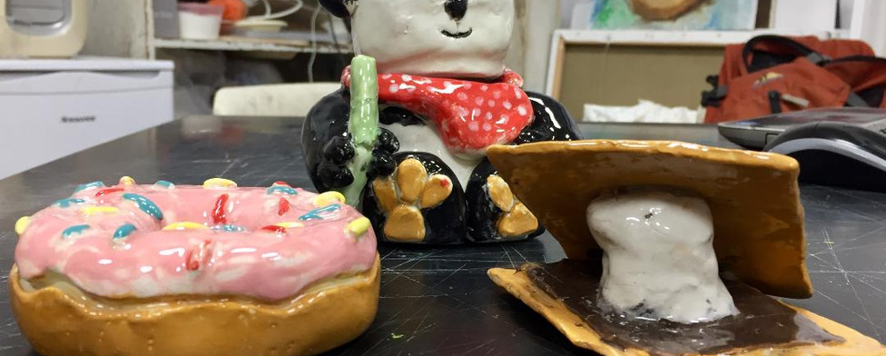 Donut, S'more, and Panda eating Bamboo in Clay