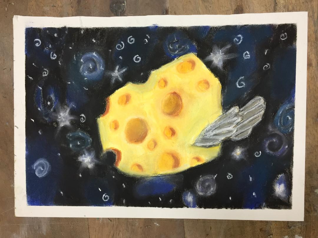 Flying Swiss Cheese in Pastel on Paper