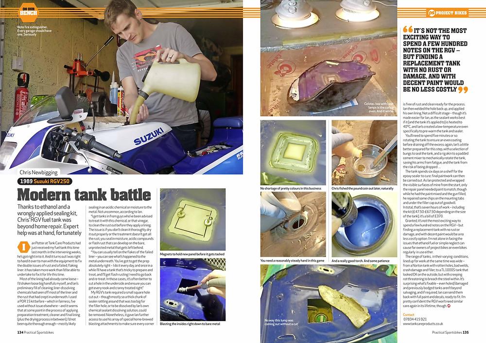 Practical Sportsbike RGV250 tank repair