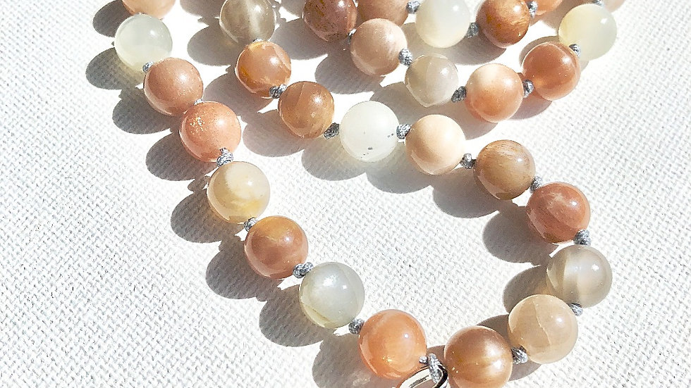 Crystal Healing Mala Necklace Peach, Grey & White Moonstone & Grey Agate