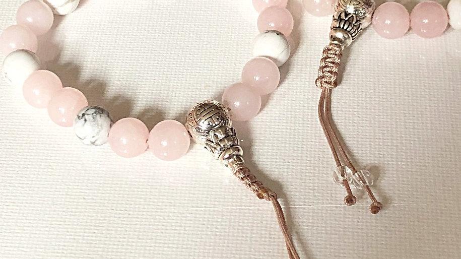 Crystal Healing Mala Bracelet White Howlite & Rose Quartz (Sterling Silver)