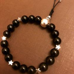 Black Tourmaline with Sterling Silver Stars Crystal Mala Bracelet