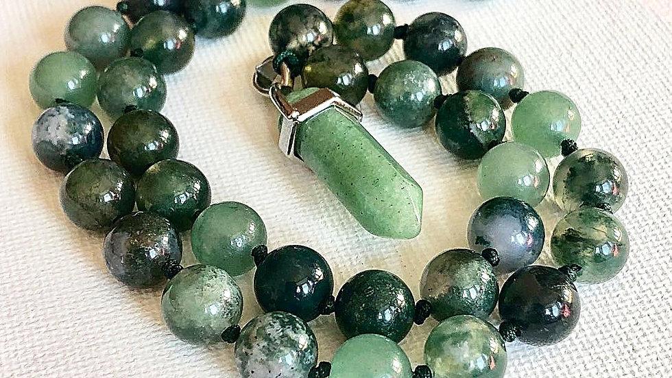 Crystal Healing Mala Necklace Moss Agate & Aventurine