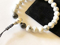 White Howlite & Black Tourmaline Crystal Mala Bracelet