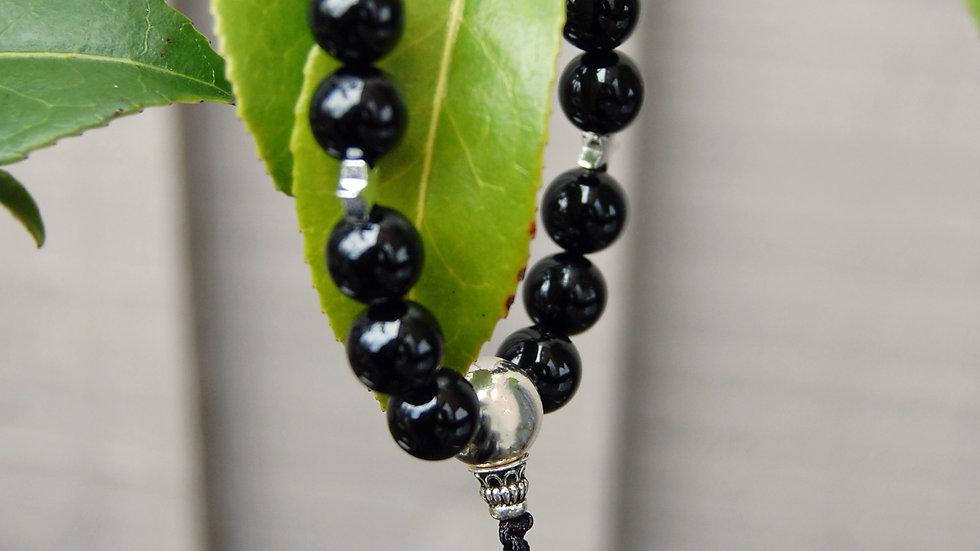 Crystal Healing Mala Bracelet Black Tourmaline (Sterling Silver Guru Bead)
