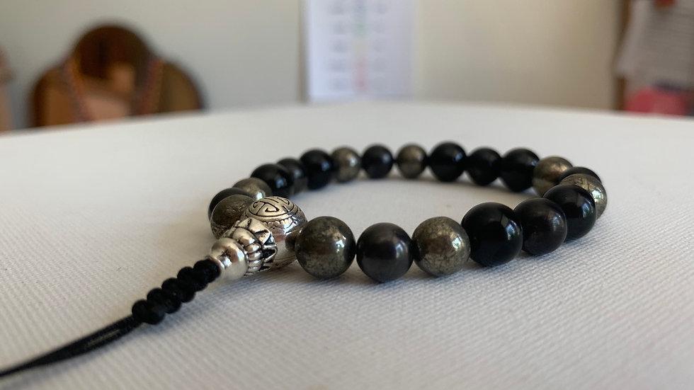 Crystal Healing Mala Bracelet Shungite, Black Toumaline & Pyrite