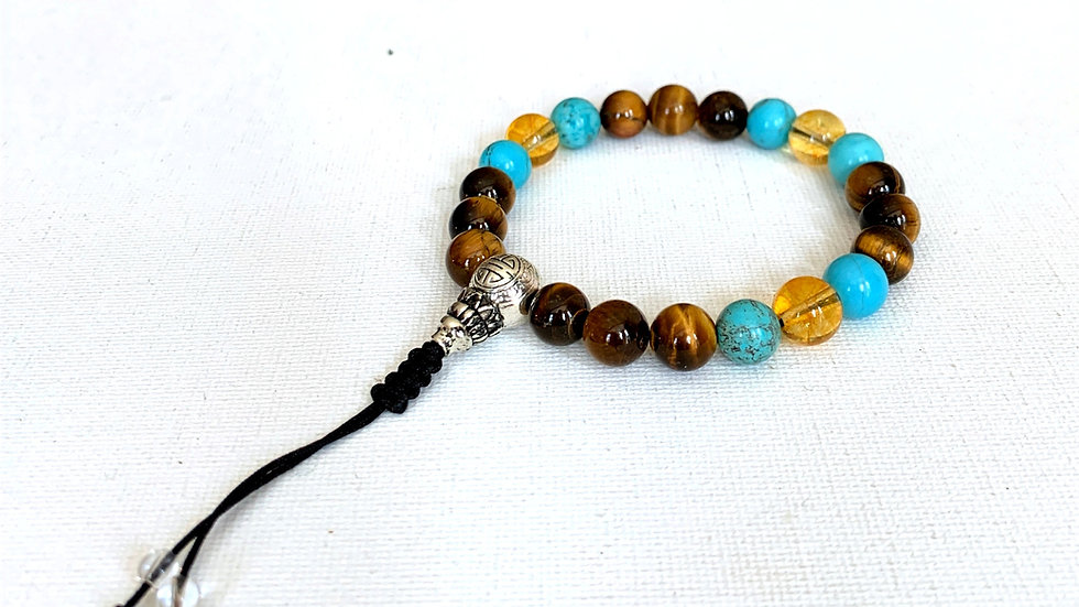 Crystal Healing Mala Bracelet Tigers Eye, Turquoise & Citrine (Sterling Silver G