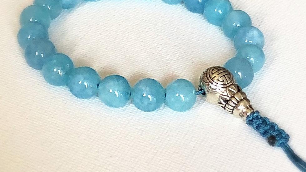 Crystal Healing Mala Bracelet Aquamarine (Sterling Silver Guru Bead)