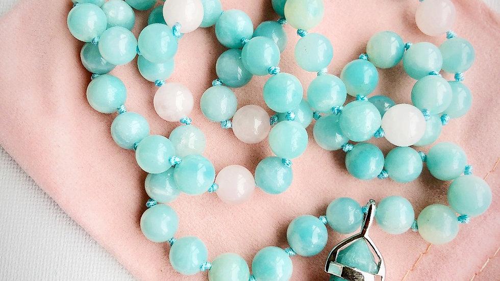Crystal Healing Mala Necklace Amazonite & Rose Quartz