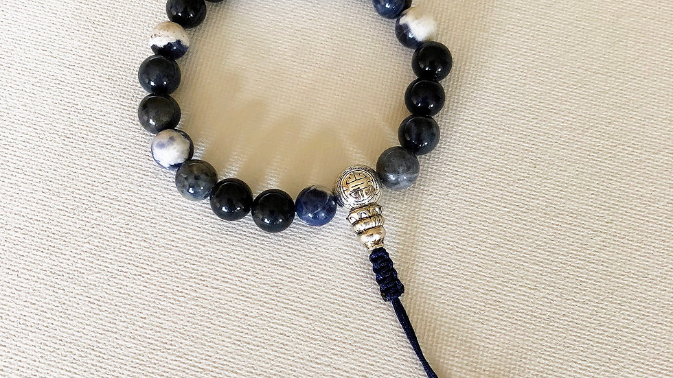 Crystal Healing Mala Bracelet Sodalite & Dumortierite (Sterling Silver)