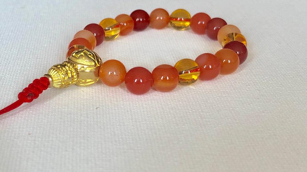 Crystal Healing Mala Bracelet Carnelian & Citrine (Brass G