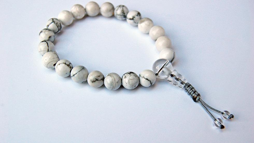 Crystal Healing Mala Bracelet White Howlite (Clear Quartz Guru Bead)