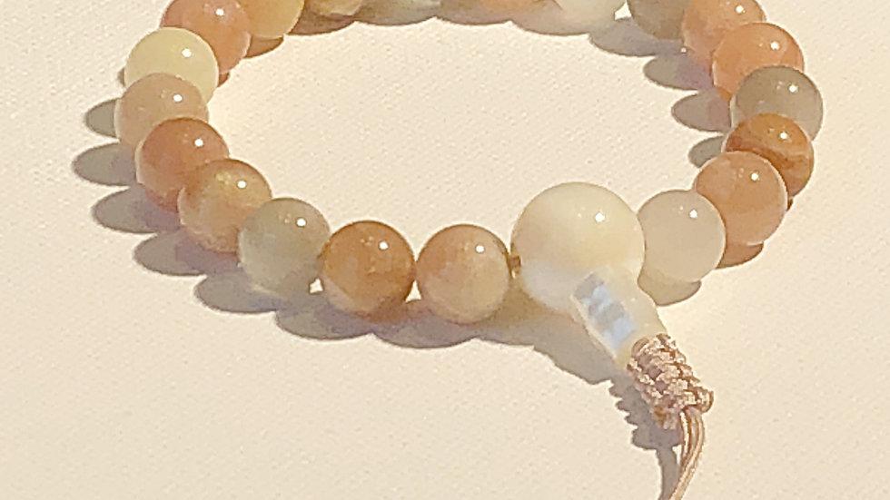 Crystal Healing Mala Bracelet Peach Moonstone (Mother of Pearl Guru Bead)