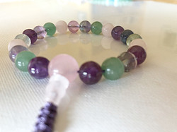 Rose Quartz, Aventurine, Rainbow Flourite & Amethyst Crystal Mala Bracelet