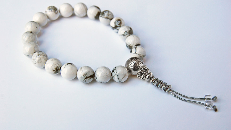 Crystal Healing Mala Bracelet White Howlite (Sterling Silver Guru Bead)