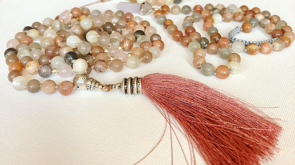 Crystal Healing 108 Mala - Peach, White & Grey Moonstone