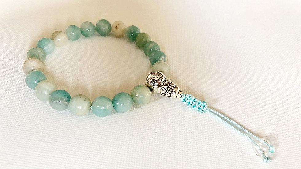 Crystal Healing Mala Bracelet Amazonite (Sterling Silver Guru Bead)