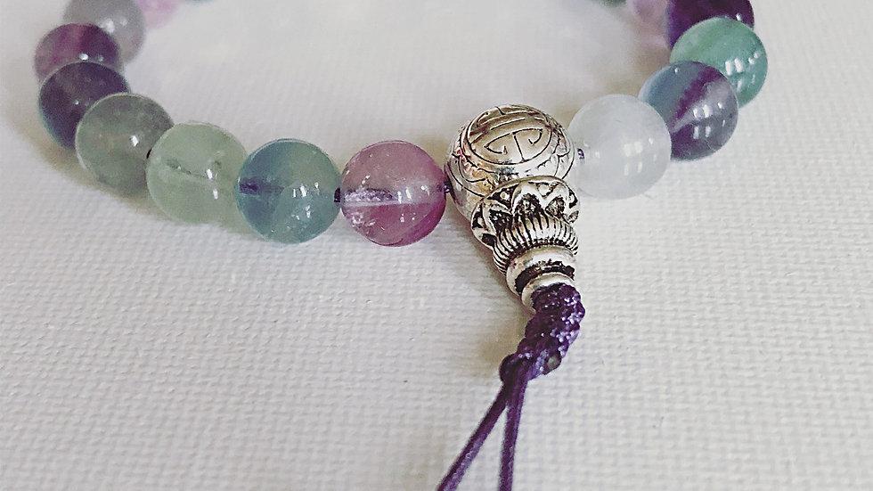 Crystal Healing Mala Bracelet Rainbow Flourite (Sterling Silver Guru Bead)