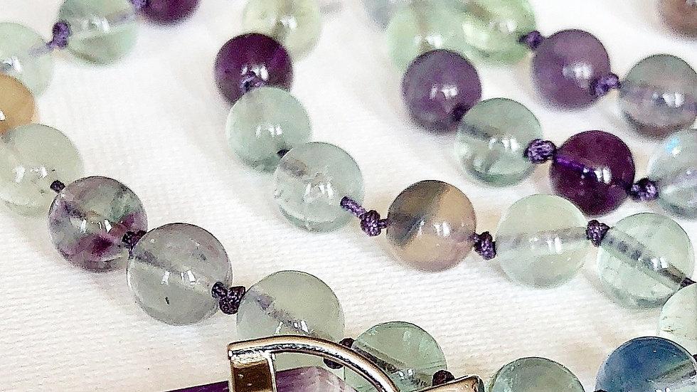 Crystal Healing Mala Necklace Rainbow Flourite & Amethyst