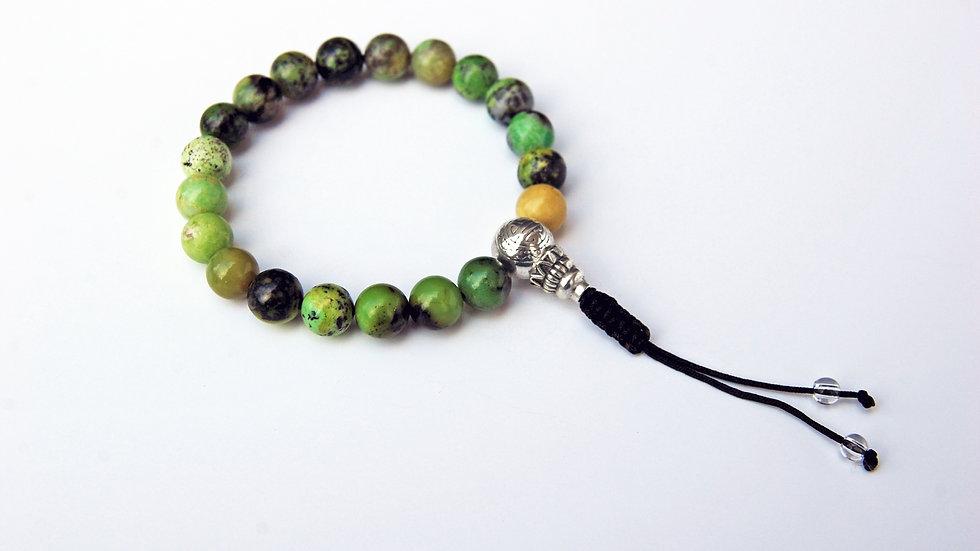 Crystal Healing Mala Bracelet Green Chrysoprase (Sterling Silver Guru Bead)